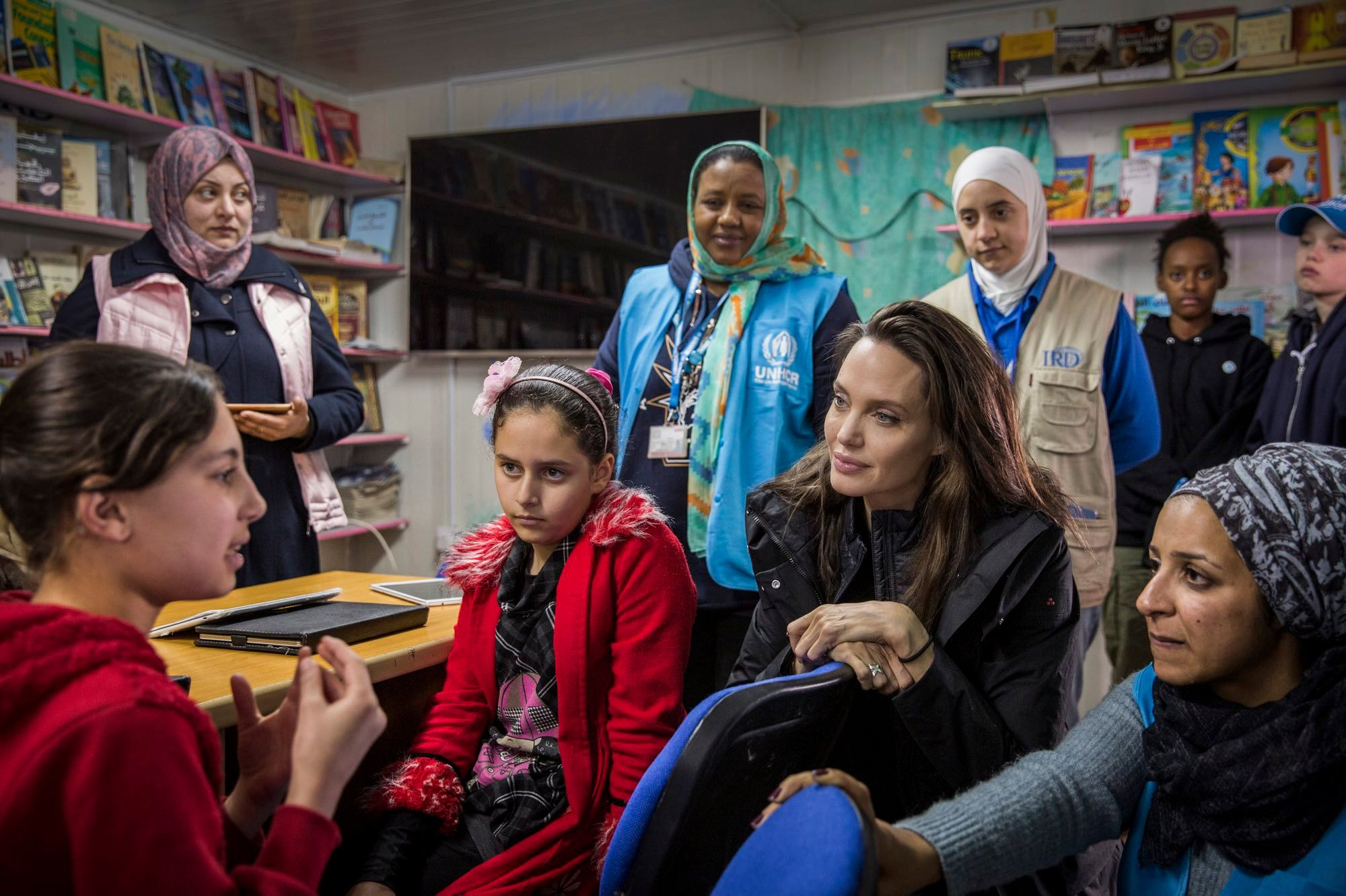 January 2018, Mafrq/Jordan: Meeting with young Syrians at Za'atari Camp; some 5.5 million Syrians have fled to neighboring countries so far. Picture: © UNHCR/ Andrew McConnell