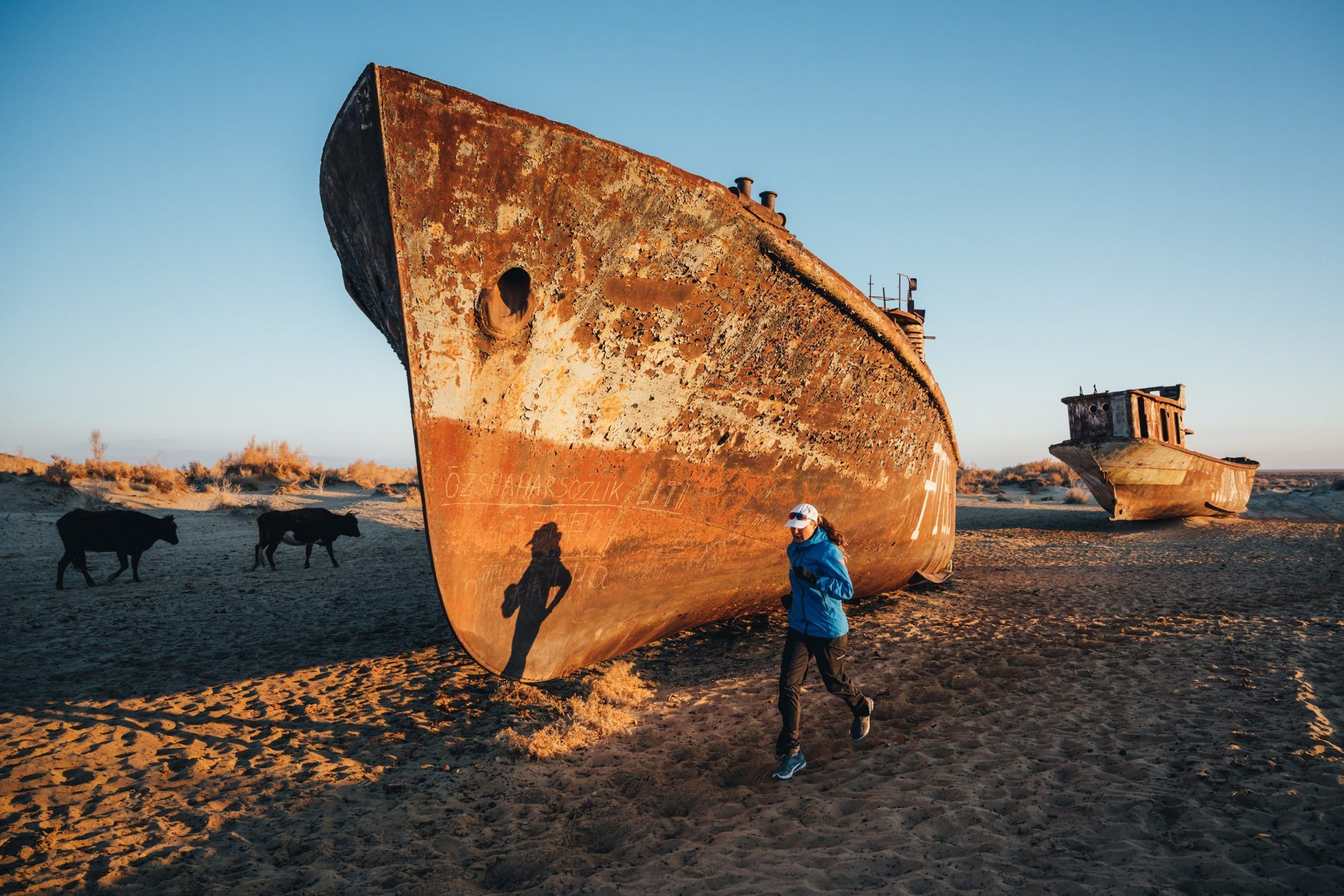 Uzbekistan, ship graveyard near Muynak - in the 70s the Aral Sea was here, of which 90% has dried up today