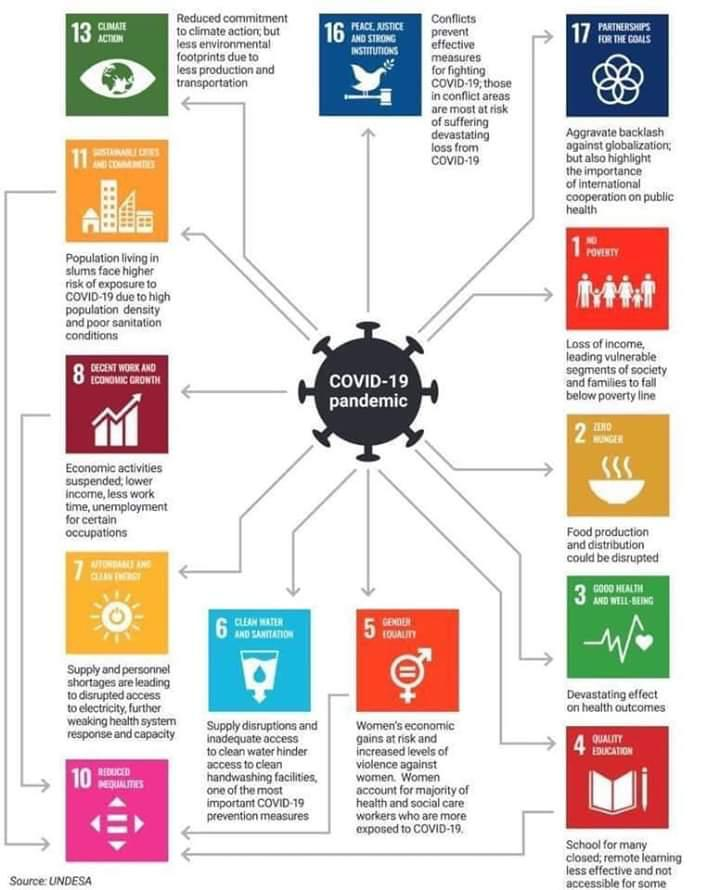 Infographic showing how the COVID-19 Pandemic affects the SDGs.