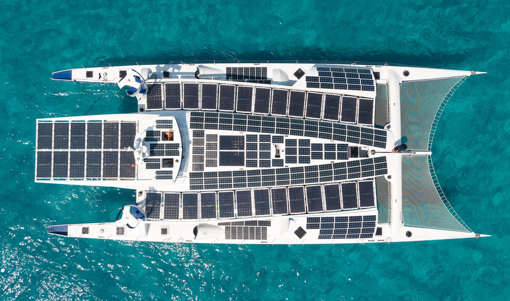 On board: wind, sun and water supply the energy; ©Energy Observer