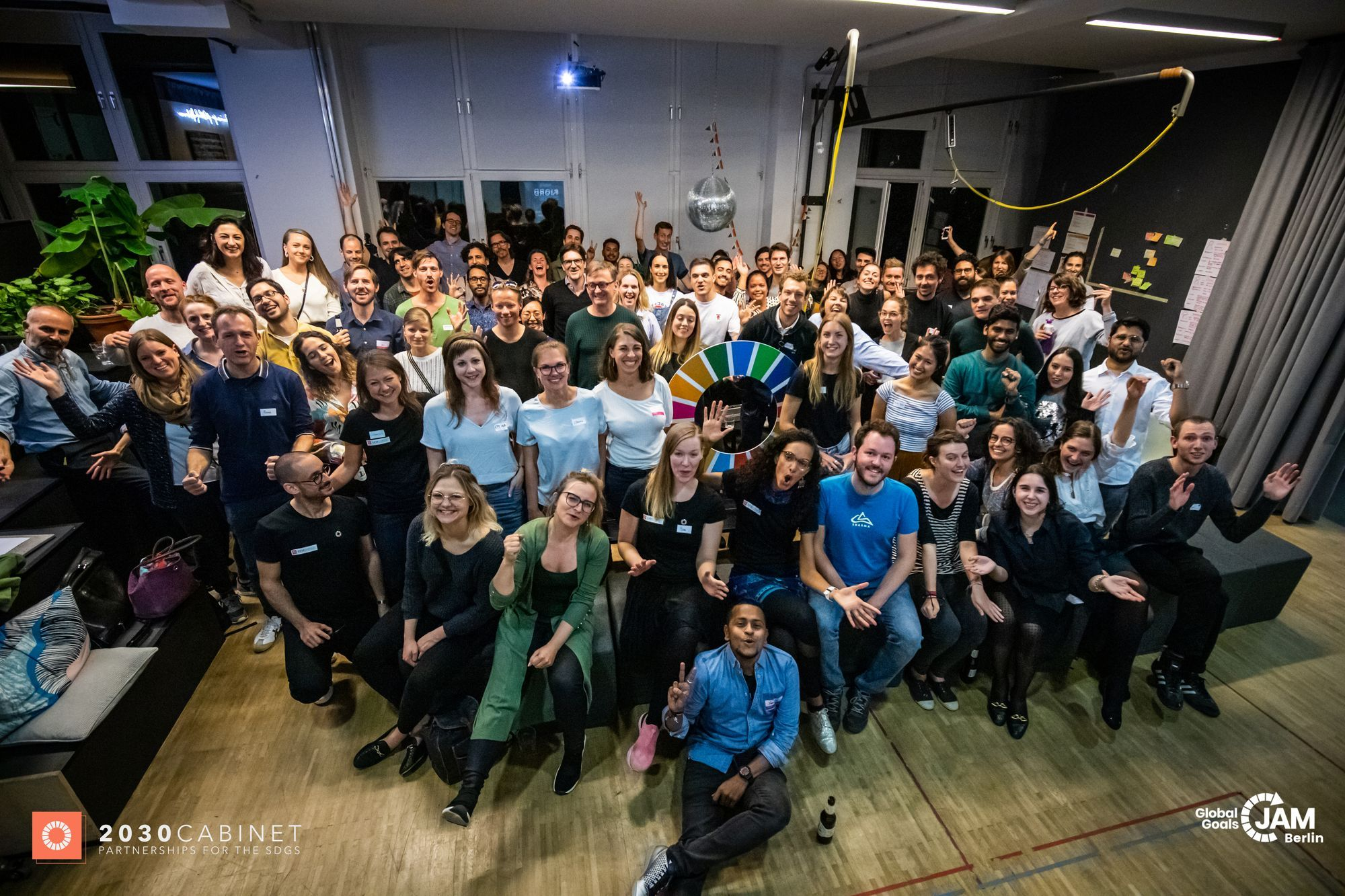 Picture from Global Goals Jam Berlin, 2019 showing participants from different sectors coming together for the two-day event