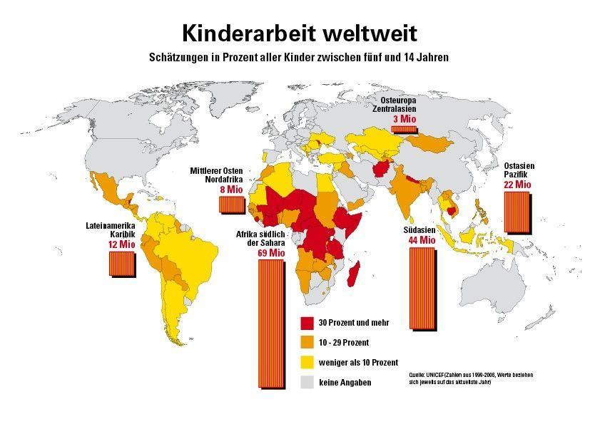Ziel 1 der 17 Ziele wirkt gegen Kinderarbeit, hier auf einer Weltkarte gezeigt