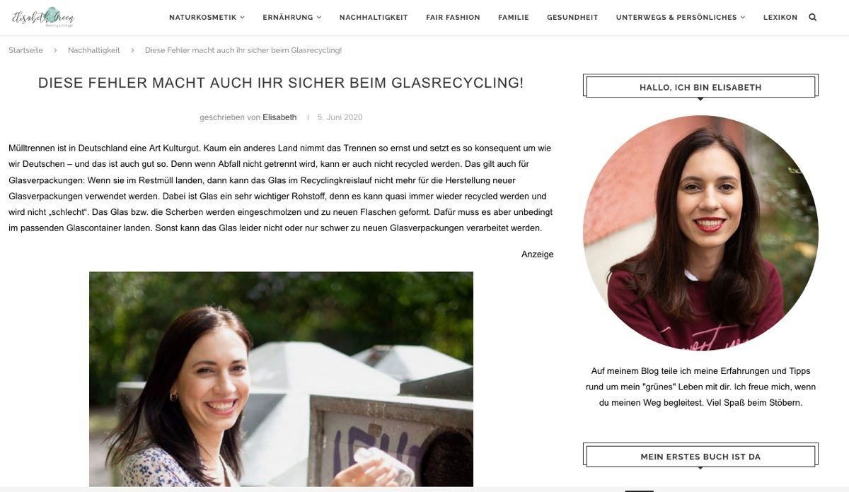 Screenshot eines Nachhaltigkeitsblogs von ElisabethGreen mit zwei Porträts der Bloggerin