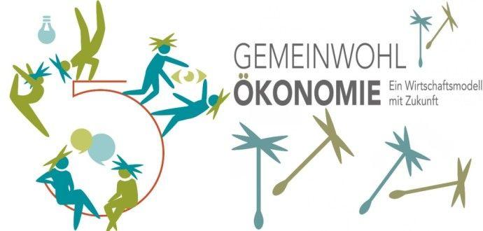 Das Logo der Gemeinwohl-Ökonomie mit abstrahierten Menschen und Pollenflug