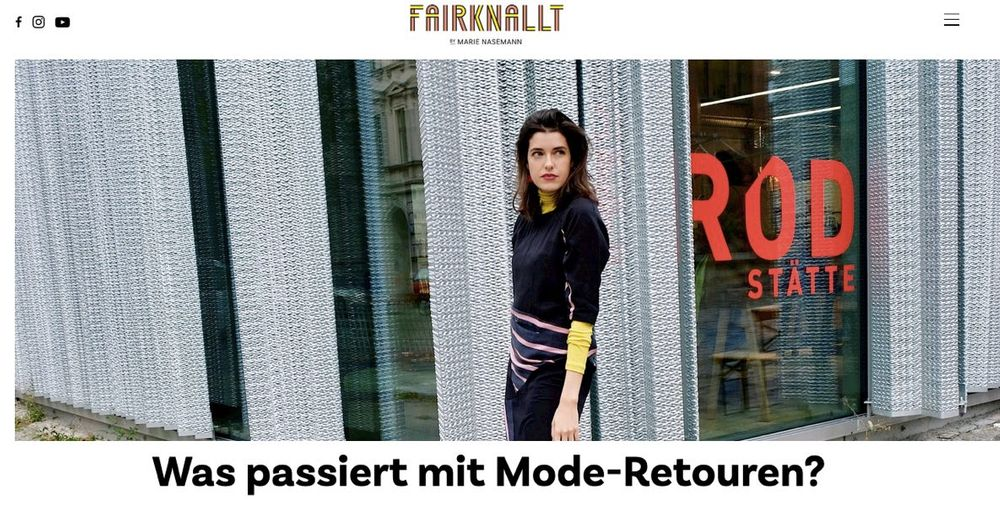 Screenshot from blog FAIRKNALLT with blogger Marie, who speaks on how return of fashion items like clothes can be harmful for the environment