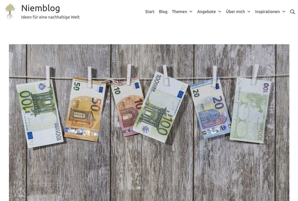 Screenshot of the blog Niemblog, showing euro notes hanging on a clothesline.