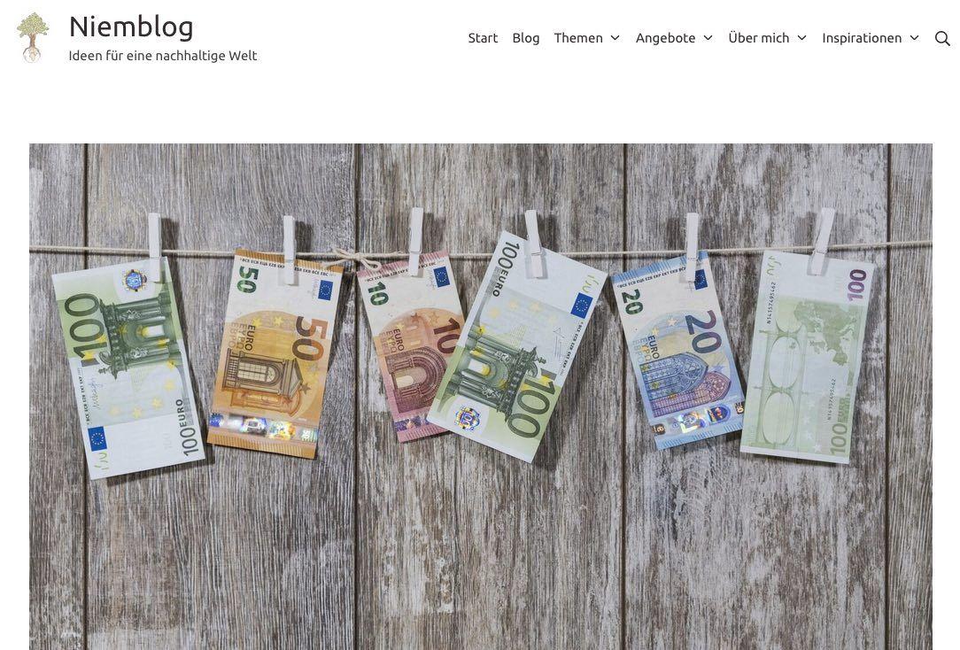 Screenshot des Blogs Niemblog, zeigt Euro-Geldscheine, die an einer Wäscheleine hängen