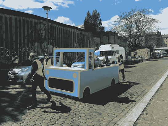 """""""Freiraumwunder,"""" handcrafted cars from Changing Cities in Berlin to show different ways of using urban space- to play, have a chat or relax!""""Freiraumwunder,"""" handcrafted cars from Changing Cities in Berlin to show different ways of using urban space- to play, have a chat or relax!"""