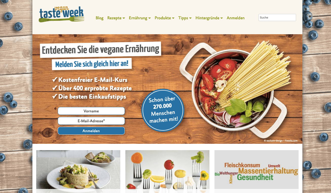 The Vegan Taste week website allows vegan enthusiasts to receive emails with tips and recipes every week.