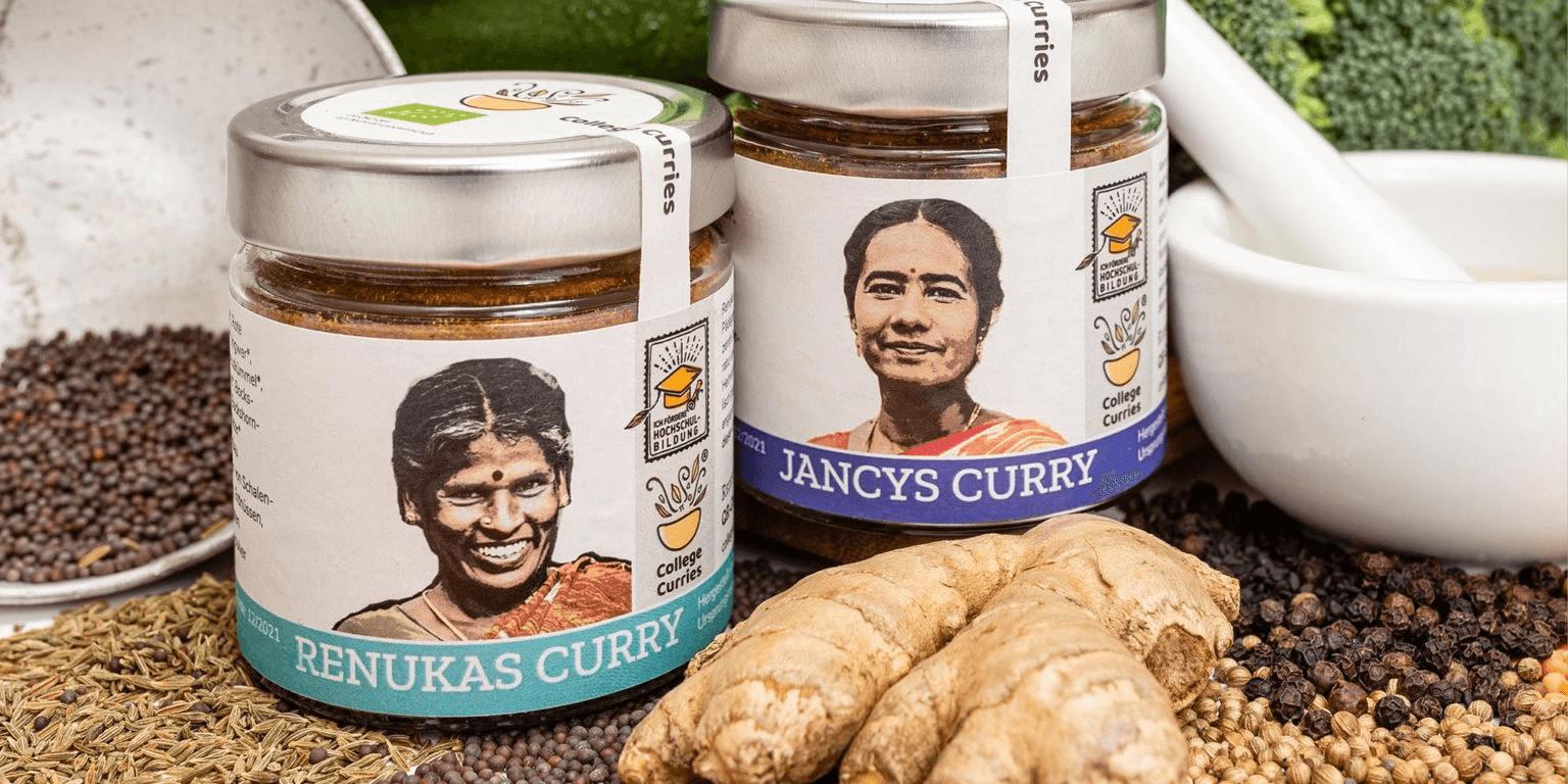 collegecurries.de bietet indische Rezepte, Geschichten über Studenten, die im Rahmen dieser Initiative auf Colleges gehen, sowie die Möglichkeit, die Currymischungen zu kaufen © Collegecurries