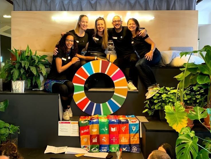 From left to right- Global Goals Jam 2019 Berlin team: Coralie Jacquot, Sinnika Hemmi, Katharina Wuropulos, Nadim Choucair, Claudia Rothe.