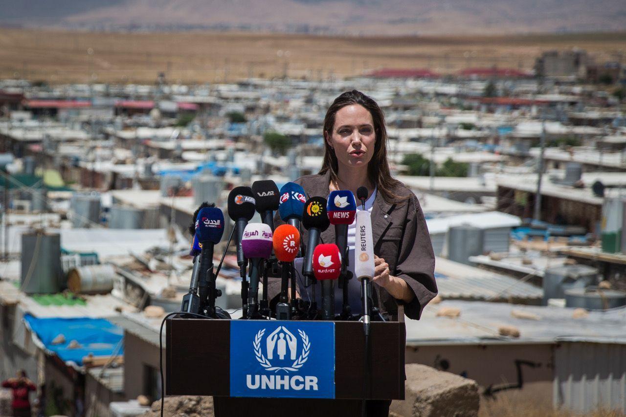 Juni 2018, Domiz/Irak, UNHCR Sondergesandte Angelina Jolie dankt den Irakern für ihre Großherzigkeit gegenüber den syrischen Flüchtlingen, © UNHCR/ Ivor Prickett