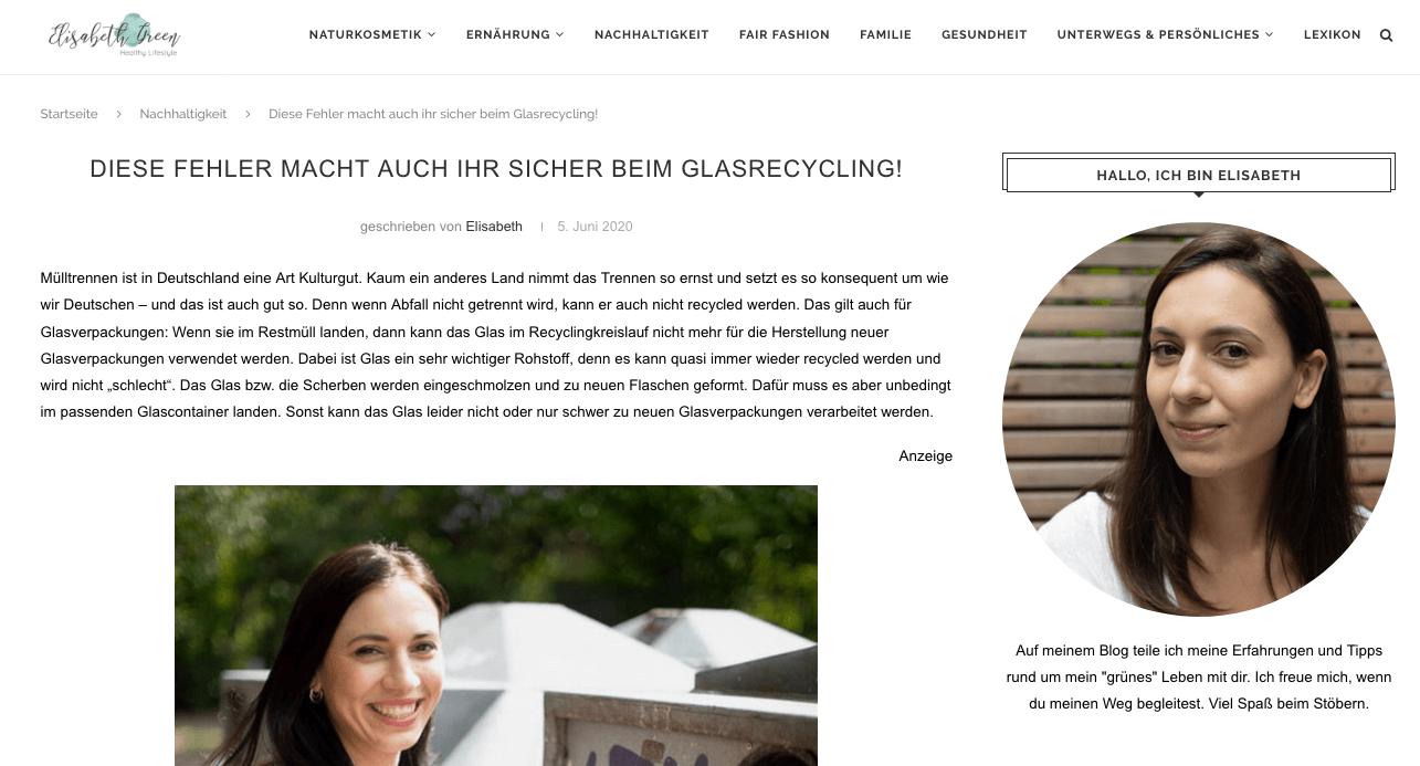 Screenshot aus Elisabeth Greens Blog über Fehler, die wir beim Recycling von Glas machen