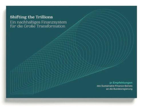 Titelseite des Berichtes vom Sustainable Finance Beirat, fein gestrichelte Röhre auf türkisem Untergrund