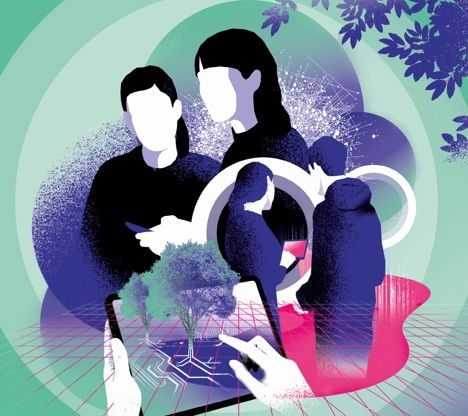 Illustration von Menschen, die nur schemenhaft zu erkennen sind, Menschen in schwarz und lila-blau dargestellt, Hintergrund türkis