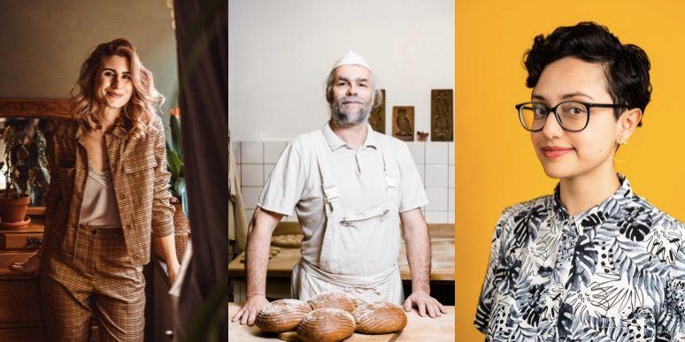 3 Porträts: Links - Frau in kariertem Anzug, Mitte - Bäcker am Backtisch, rechts - junge Frau mit Brille vor gelbem Hintergrund