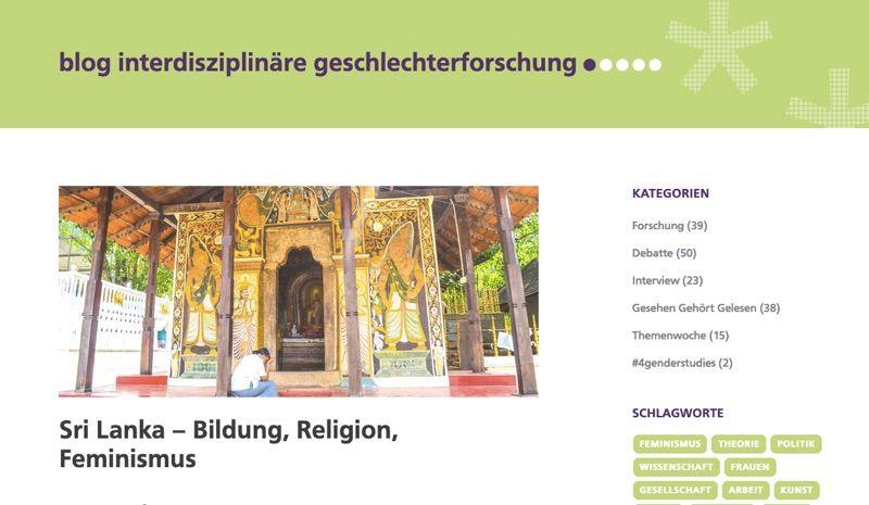 Screenshot eines Blogs: Butn gestalteter Eingangsbereich zu einem Teempel in Sri Lanke