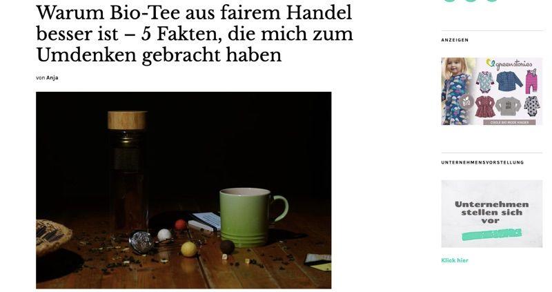 Screenshot eines Blogs: grüne Tasse steht auf einem alten Holztisch, dazu Textblock und 2 kleine Bildchen