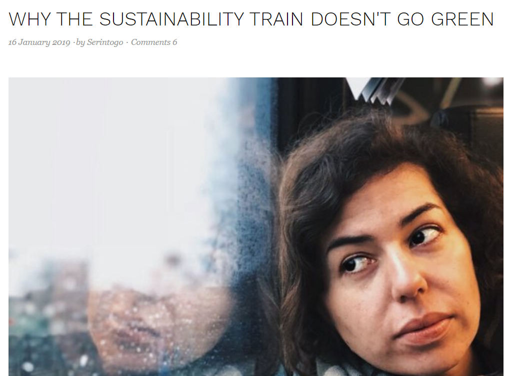 Screenshot of a blog: Woman looking thoughtfully out the window of a train, headline above.