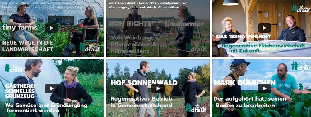 6 Video-Screenshots zeigen Situationen von Bauern im Gespräch mit Moderatorin
