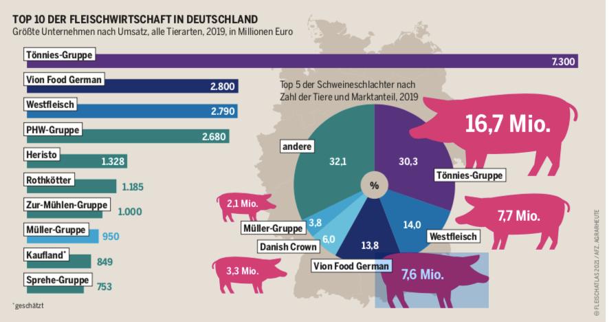 Grafik Tortendiagramm zeigt, welches Unternehmen 2019 wieviele Schweinen schlachtete